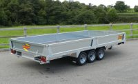 PF50 fitted with extra steel sides, third axle and steel loading ramps.